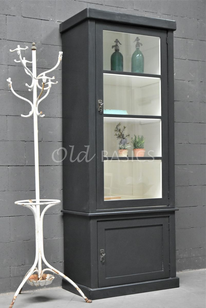 Vitrinekast Muret, 1 deuren, RAL7021, zwart, grijs, materiaal hout