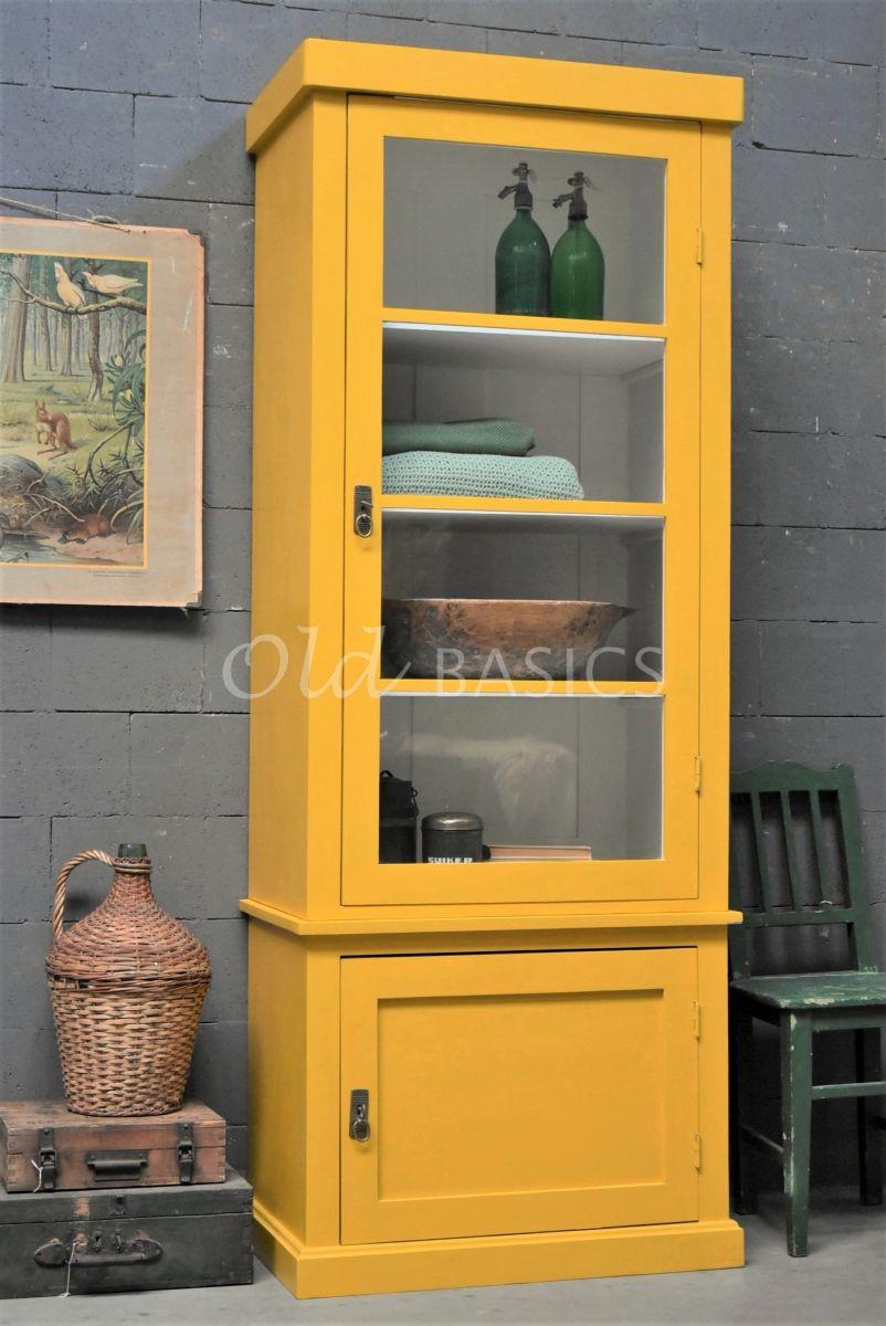 Vitrinekast Muret, 1 deuren, RAL1005, geel, materiaal hout