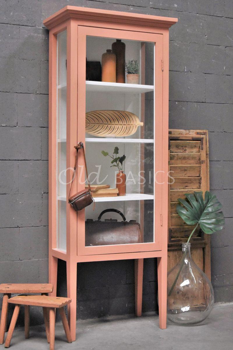 Vitrinekast Odille, 1 deuren, RAL3012, zalm, roze, materiaal hout
