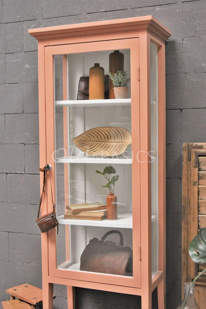 Detail van Vitrinekast Odille, 1 deuren, RAL3012, zalm, roze, materiaal hout