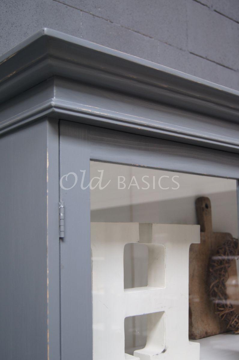 Detail van Vitrinekast Rialto, grijs, materiaal hout