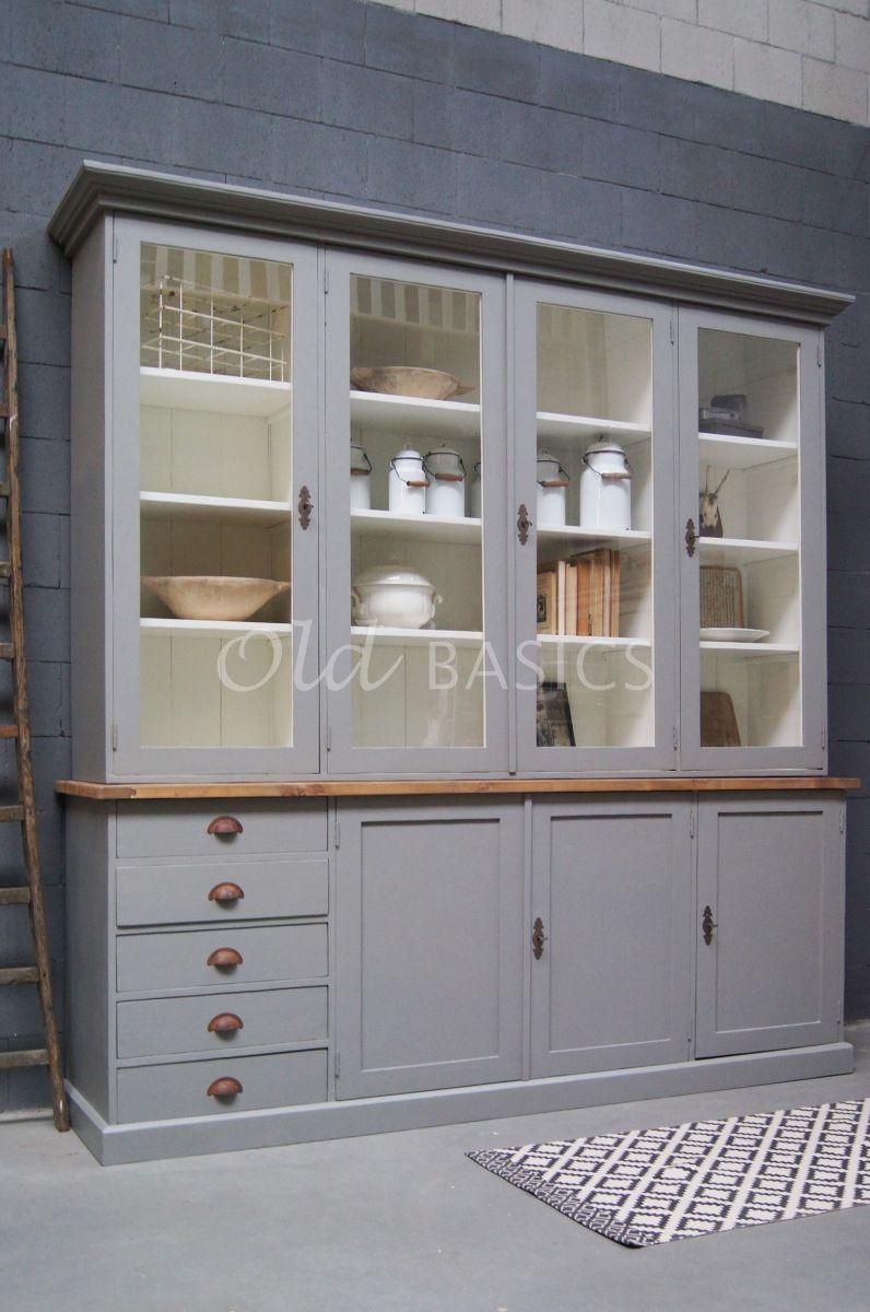 Vitrinekast Rustique, 4 deuren, RAL7030, grijs, materiaal hout
