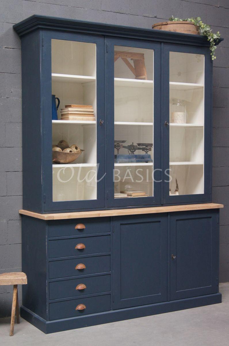 Vitrinekast Rustique, 3 deuren, RAL5008, blauw, materiaal hout