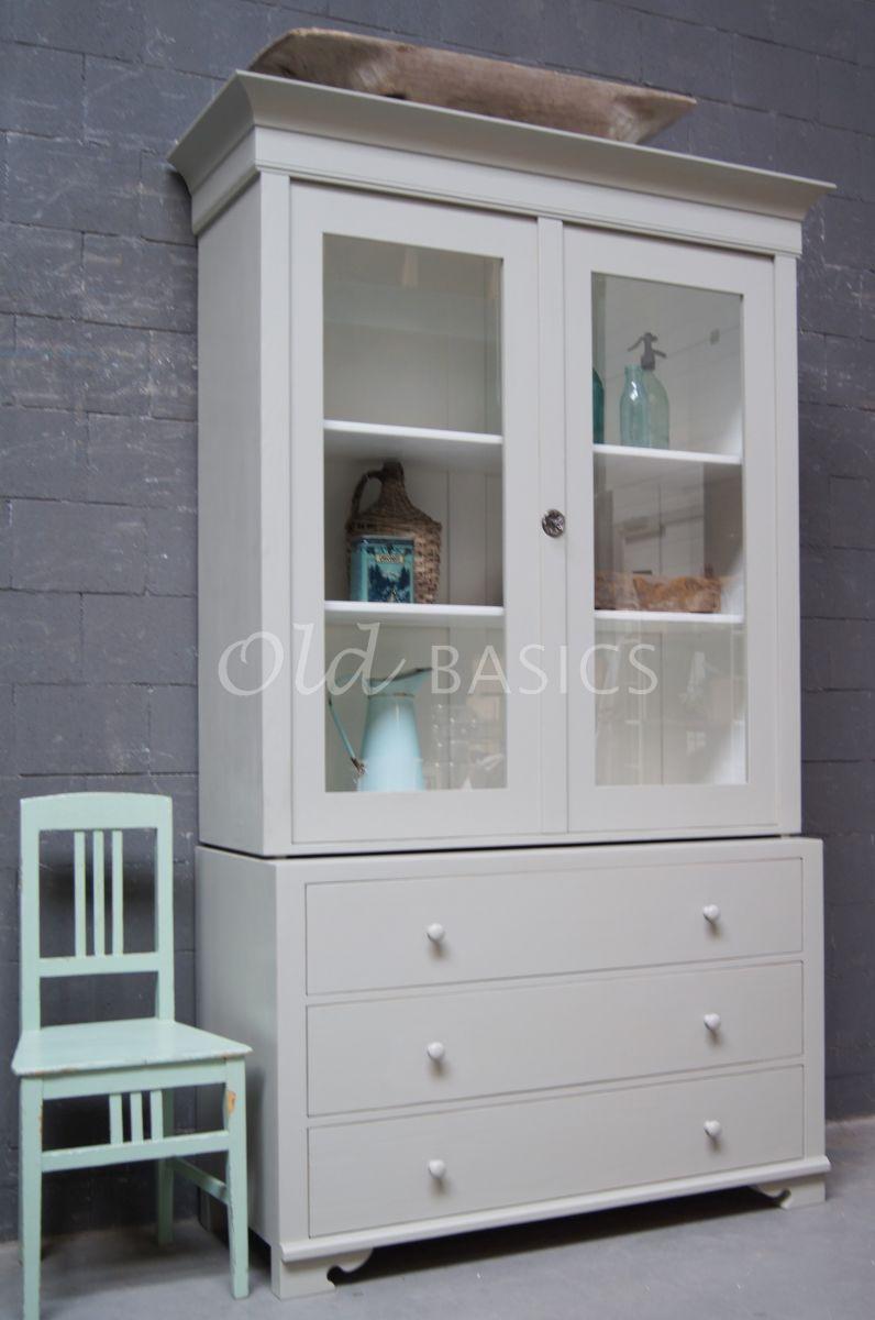 Zweedse vitrinekast, 2 deuren, RAL7032, grijs, materiaal hout