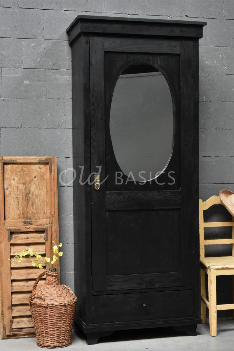 Kast Miroir, 1 deuren, RAL9005, zwart, materiaal hout