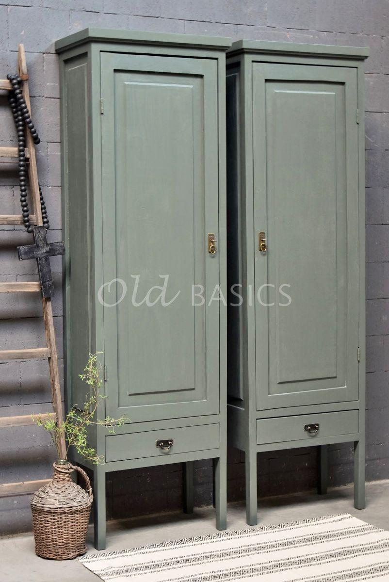 Set Smalle Kasten Vertou, 1 deuren, RAL7009, groen, grijs, materiaal hout