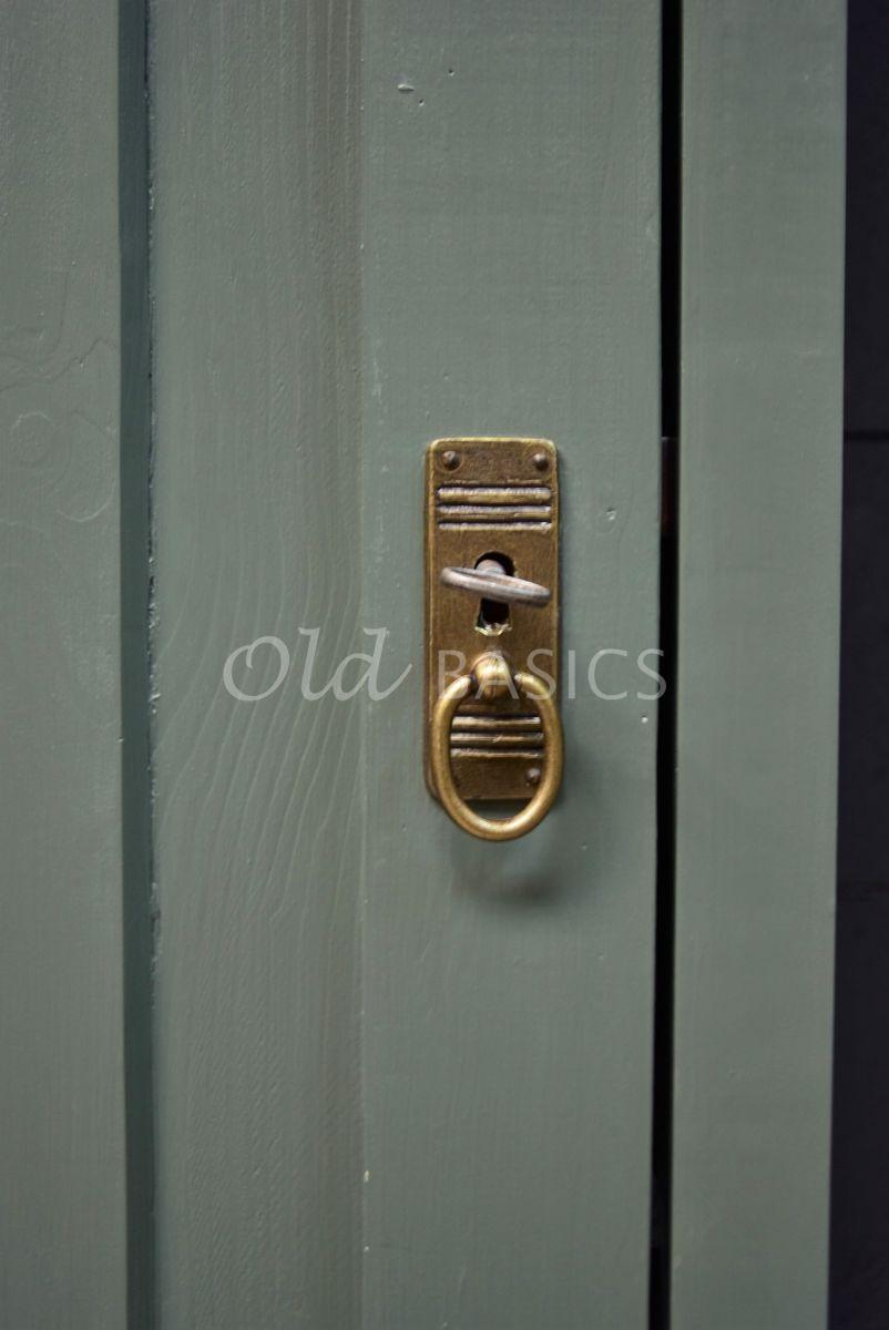 Detail van Set Smalle Kasten Vertou, 1 deuren, RAL7009, groen, grijs, materiaal hout