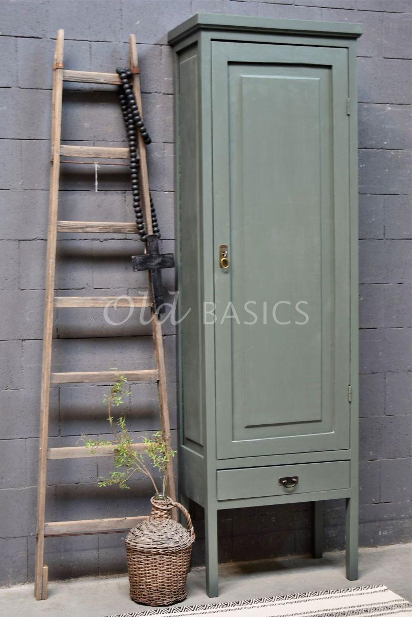 Smalle Kast Vertou, 1 deuren, RAL7009, groen, grijs, materiaal hout
