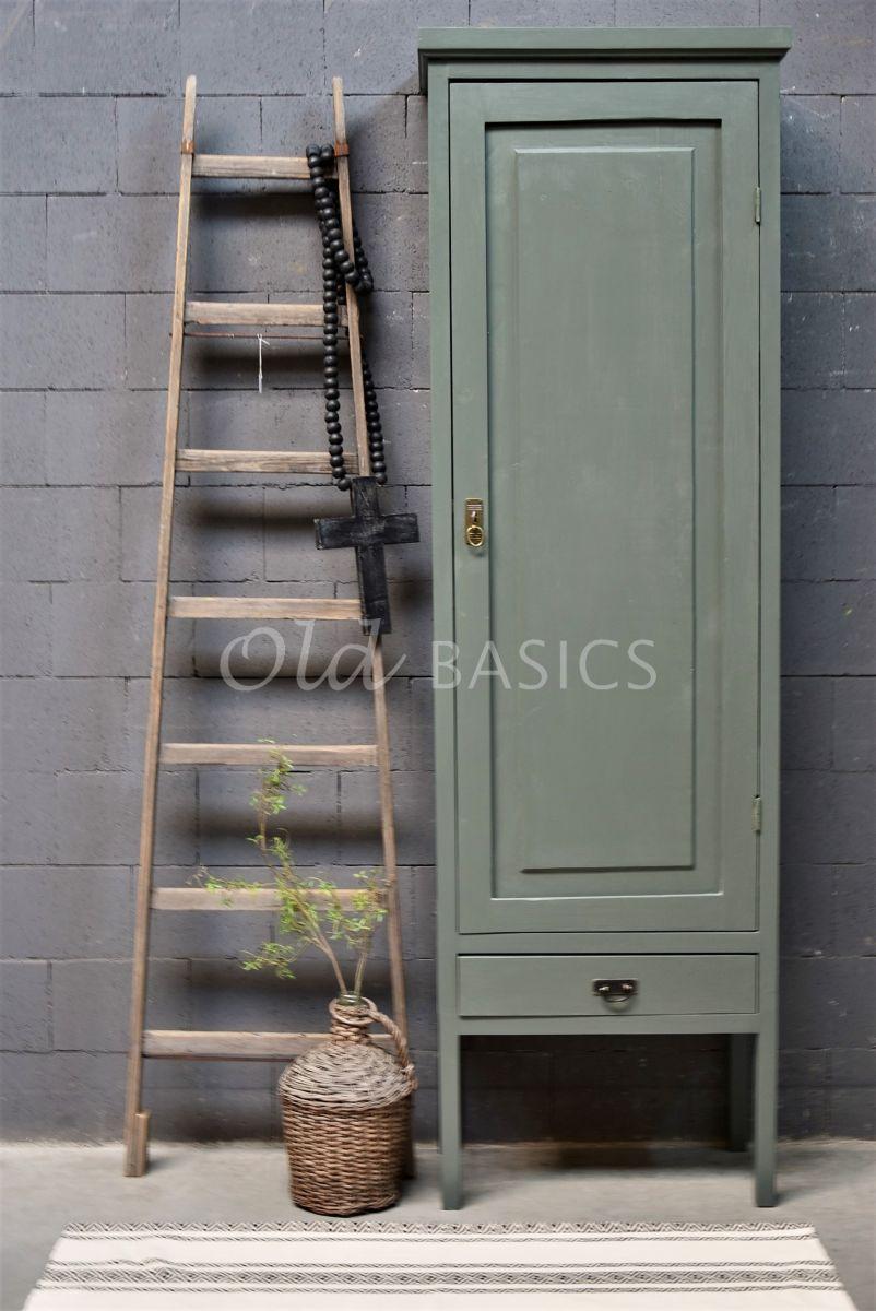 Detail van Smalle Kast Vertou, 1 deuren, RAL7009, groen, grijs, materiaal hout