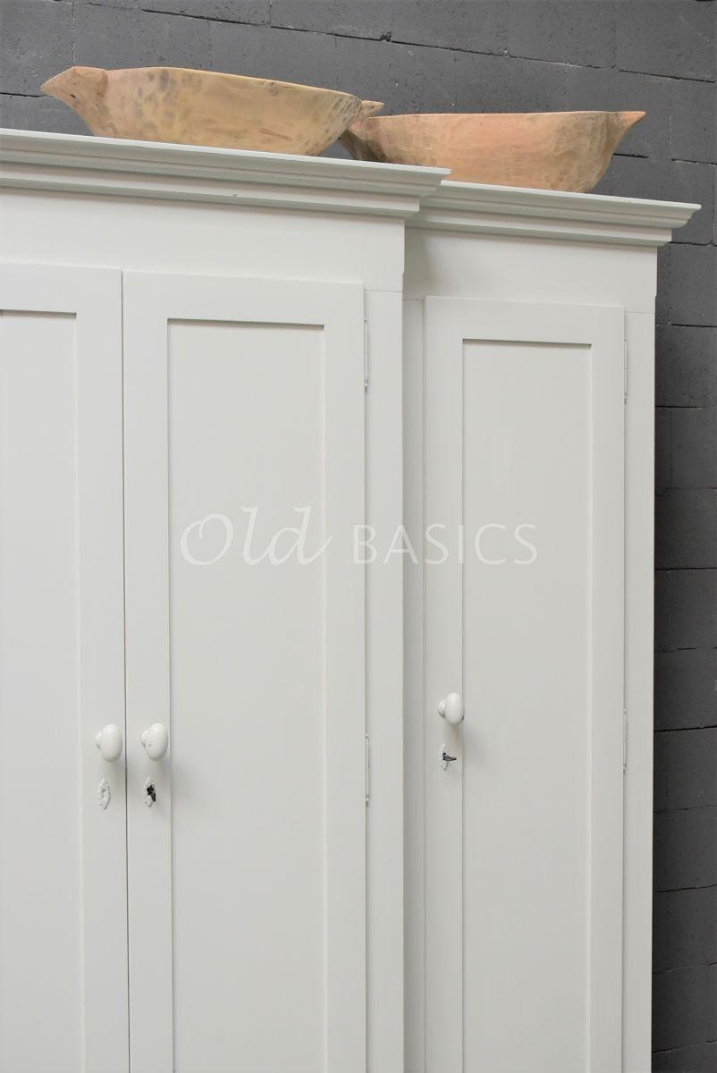 Detail van Linnenkast Eva, grijs, wit, materiaal hout