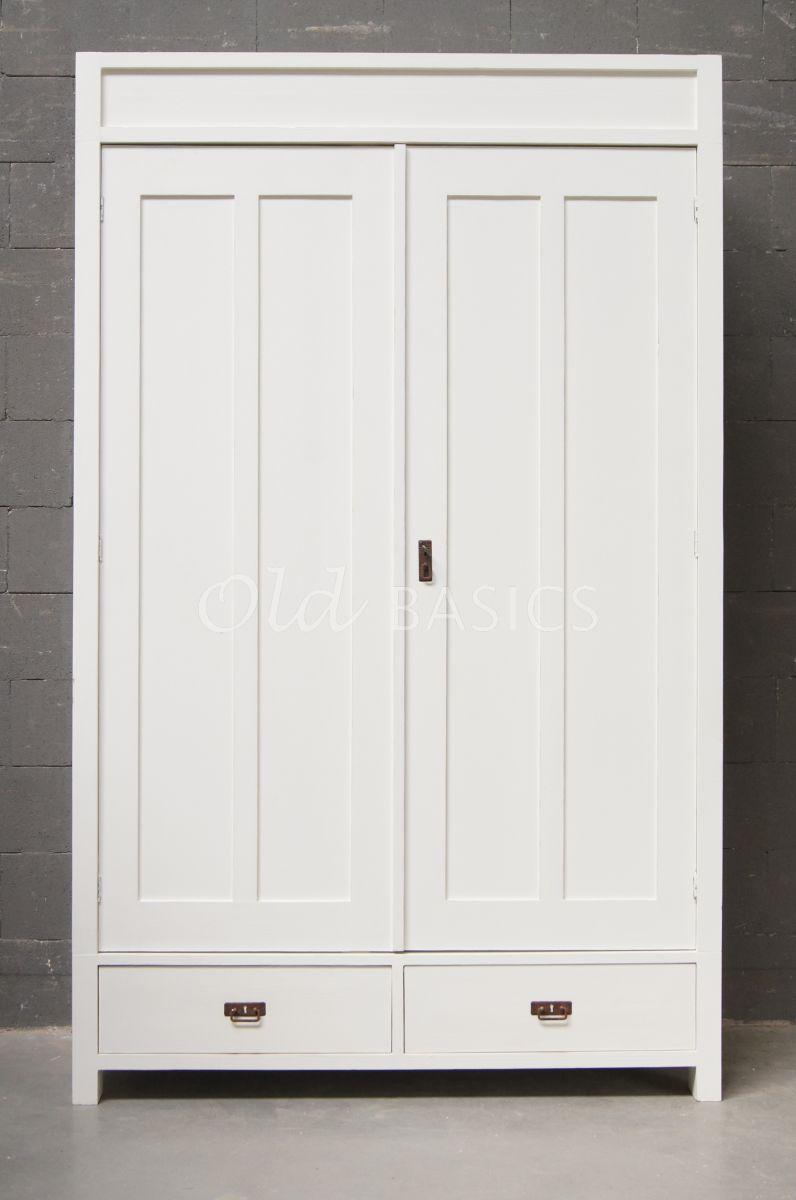 Detail van Linnenkast Plage, wit, materiaal hout