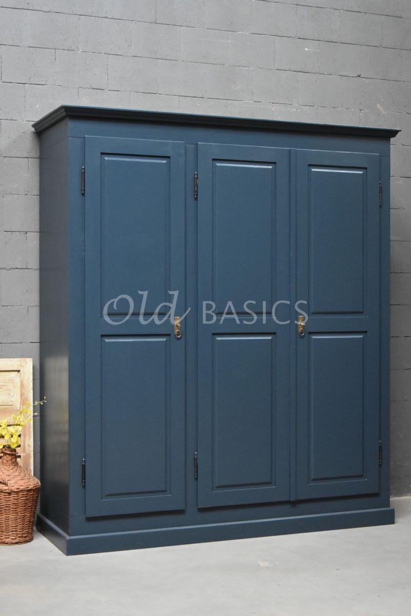 Linnenkast Rustique, 3 deuren, RAL5008, blauw, materiaal hout