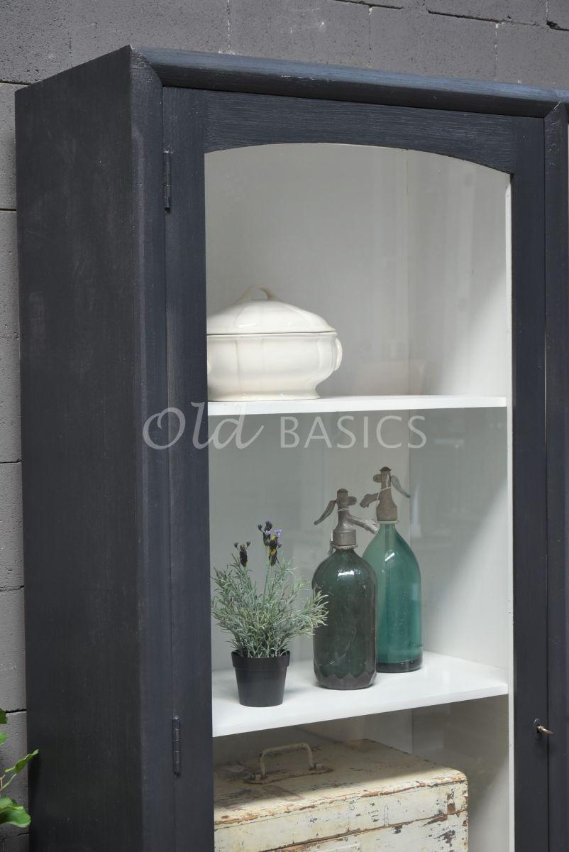 Detail van Vitrinekast Isa Zwartgrijs, zwart, grijs, materiaal hout