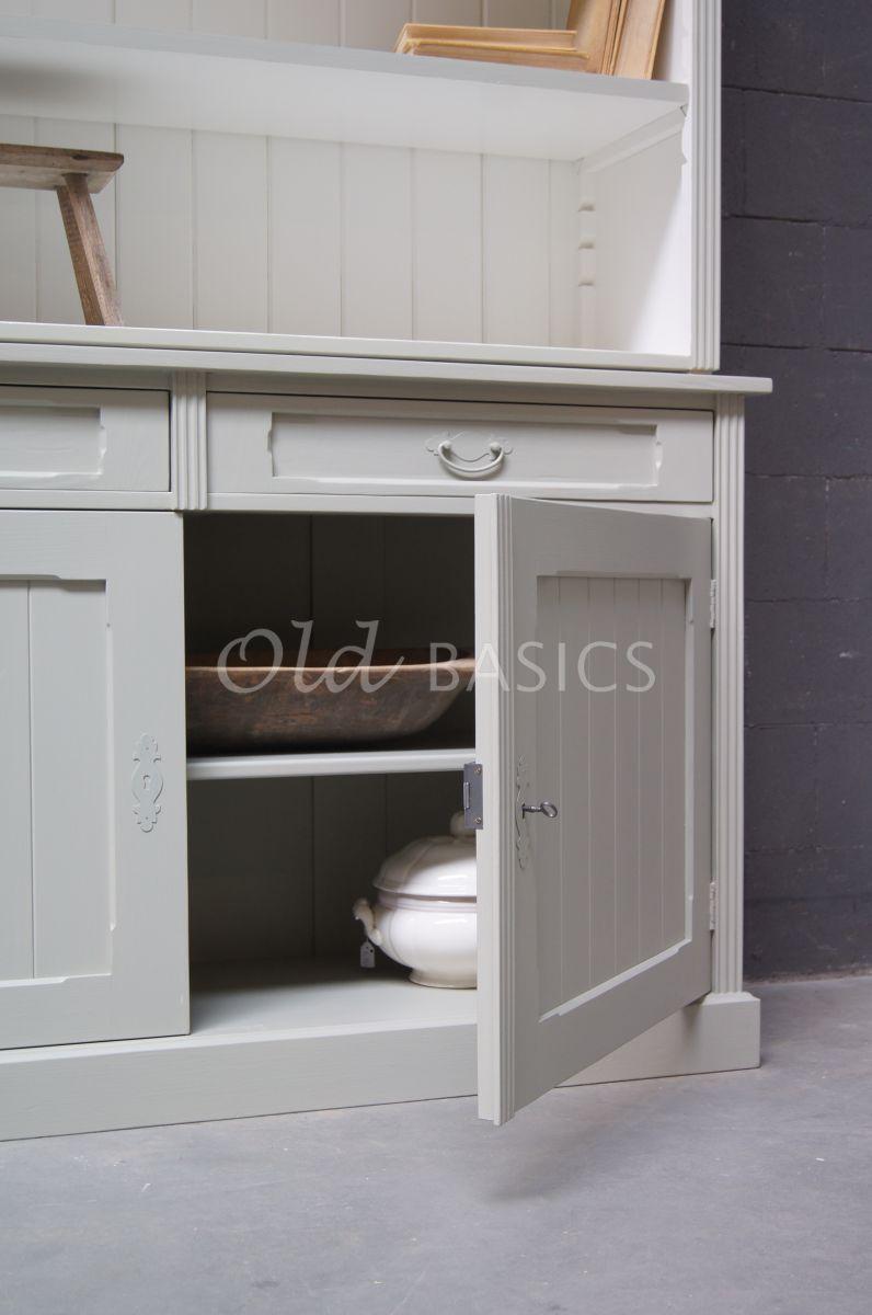 Detail van Boekenkast Alain, 2 deuren, RAL7032, grijs, materiaal hout