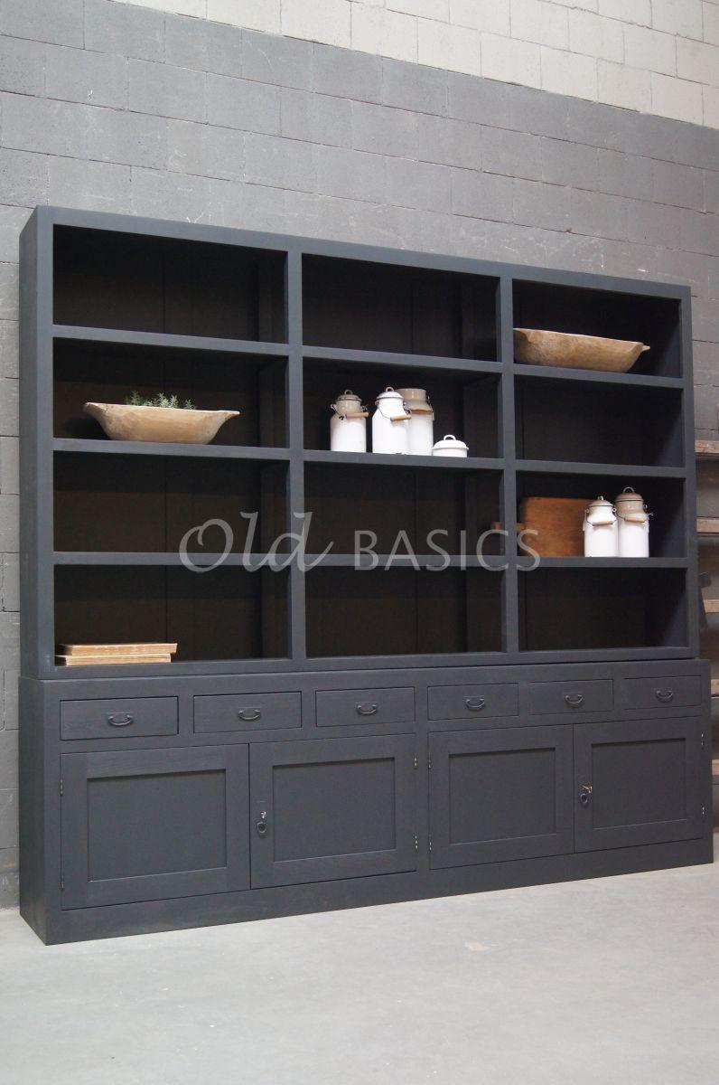 Boekenkast Calais, 4 deuren, RAL7021, zwart, grijs, materiaal hout