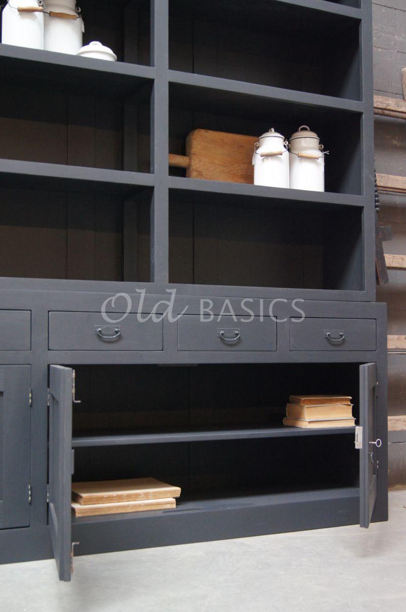 Detail van Boekenkast Calais, 4 deuren, RAL7021, zwart, grijs, materiaal hout