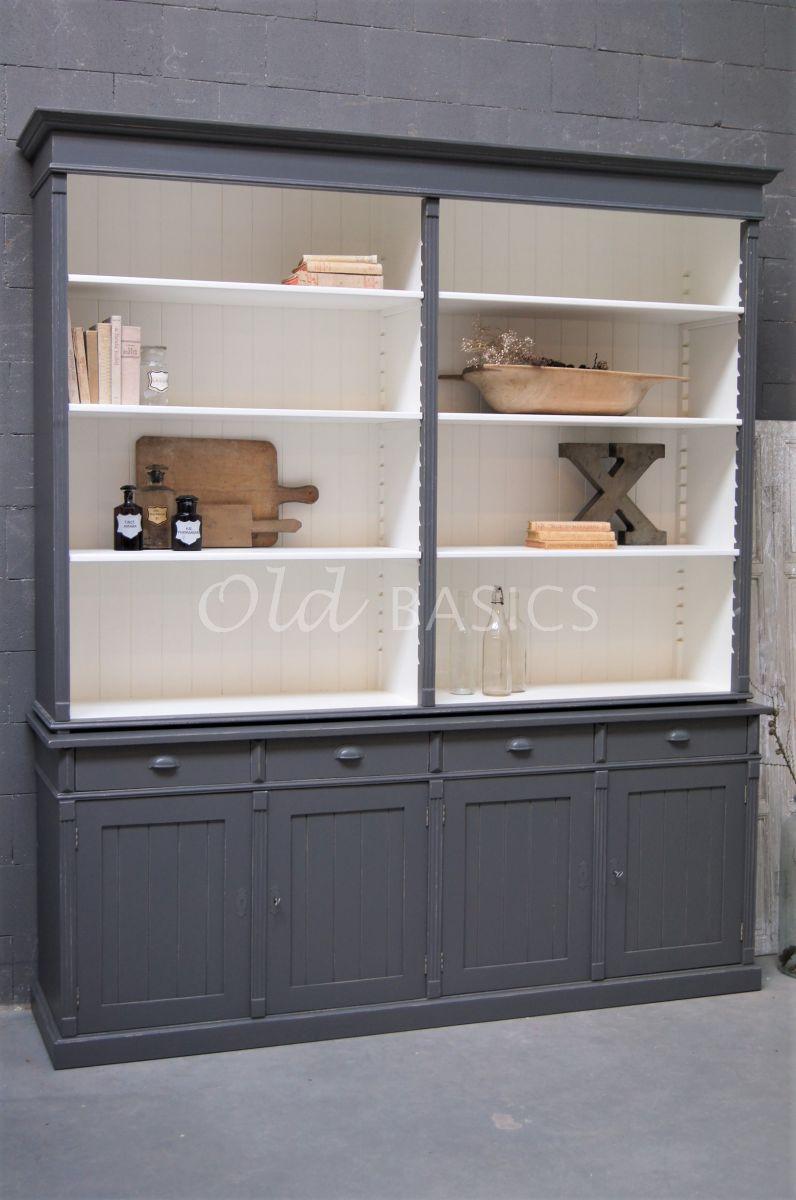 Boekenkast Marseille, 4 deuren, RAL7043, grijs, materiaal hout