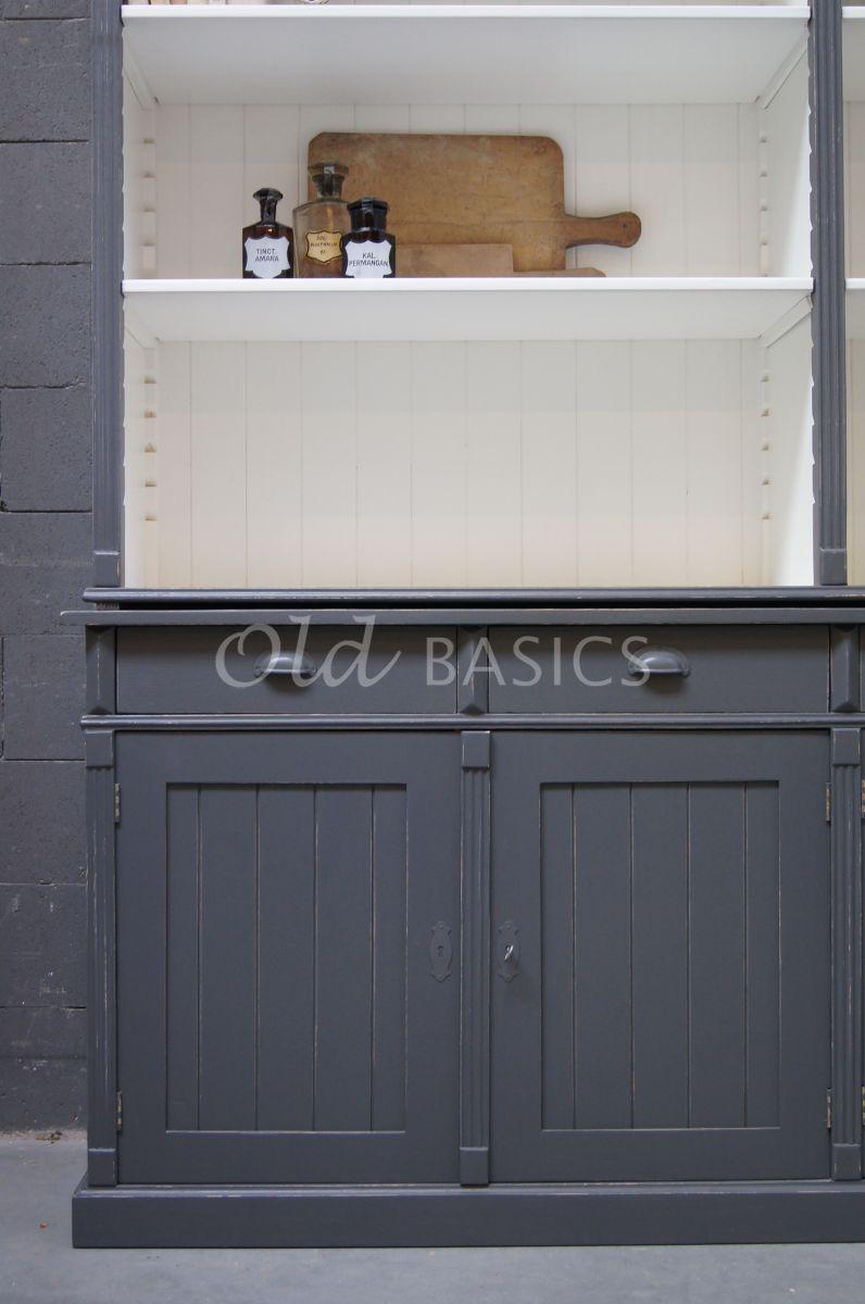 Detail van Boekenkast Marseille, 4 deuren, RAL7043, grijs, materiaal hout