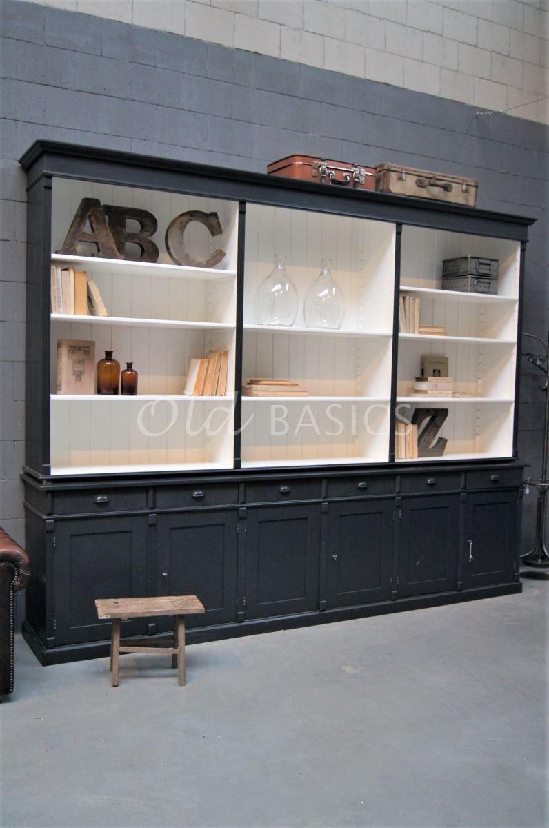 Boekenkast Marseille, 6 deuren, RAL7021, zwart, grijs, materiaal hout
