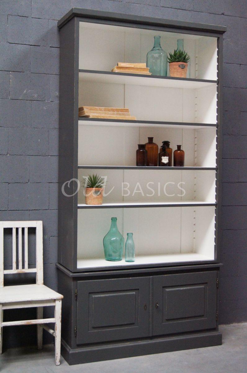Boekenkast Monaco, 2 deuren, RAL7043, grijs, materiaal hout