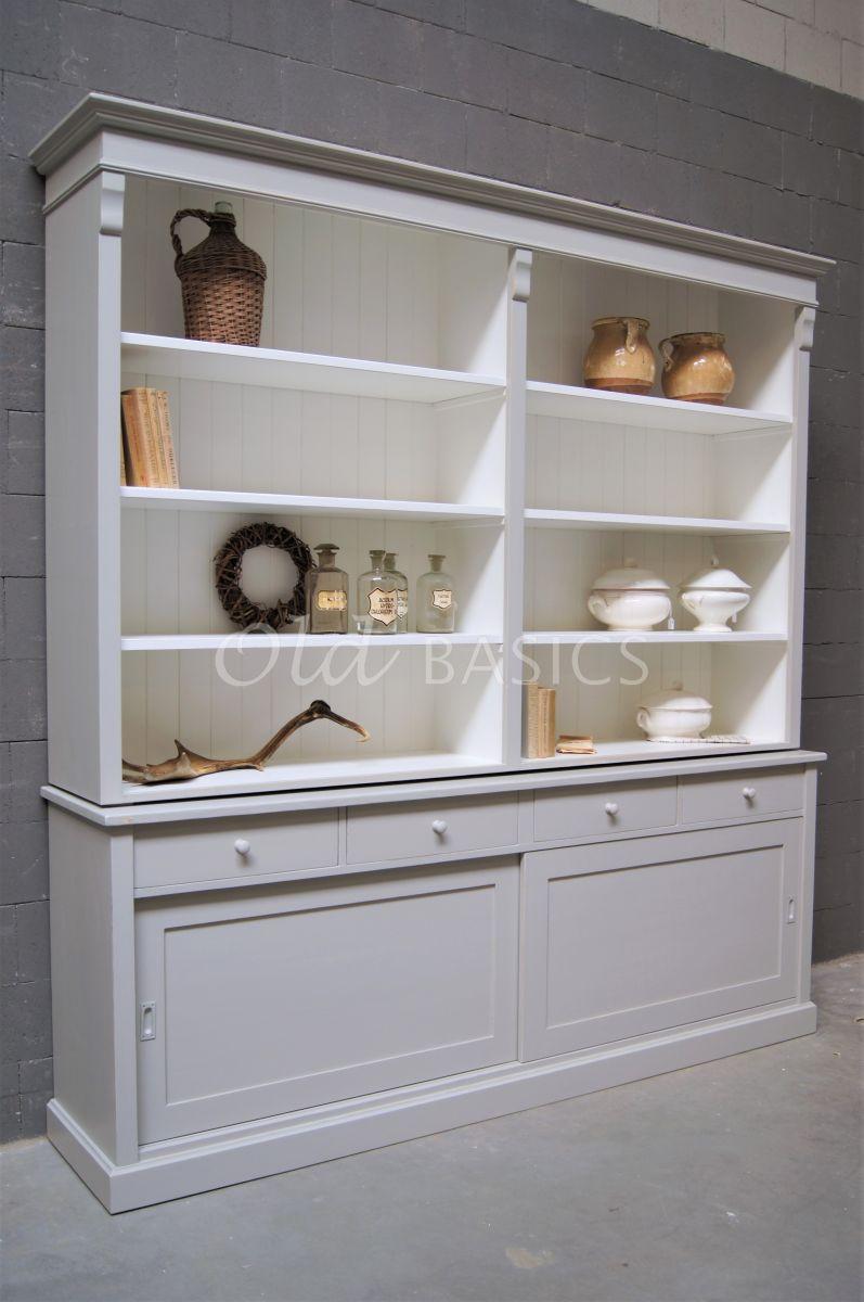 Boekenkast Rustique, 2 deuren, RAL7044, grijs, materiaal hout