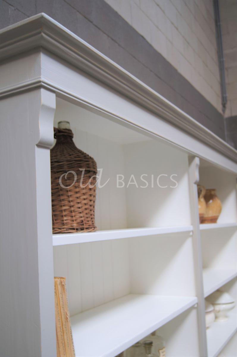 Detail van Boekenkast Rustique, 2 deuren, RAL7044, grijs, materiaal hout