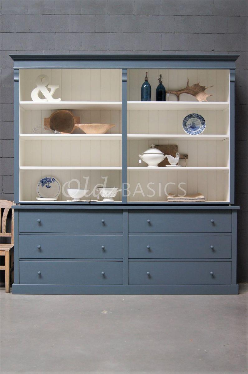 Detail van Boekenkast Rustique, 2 deuren, RAL7031, blauw, grijs, materiaal hout