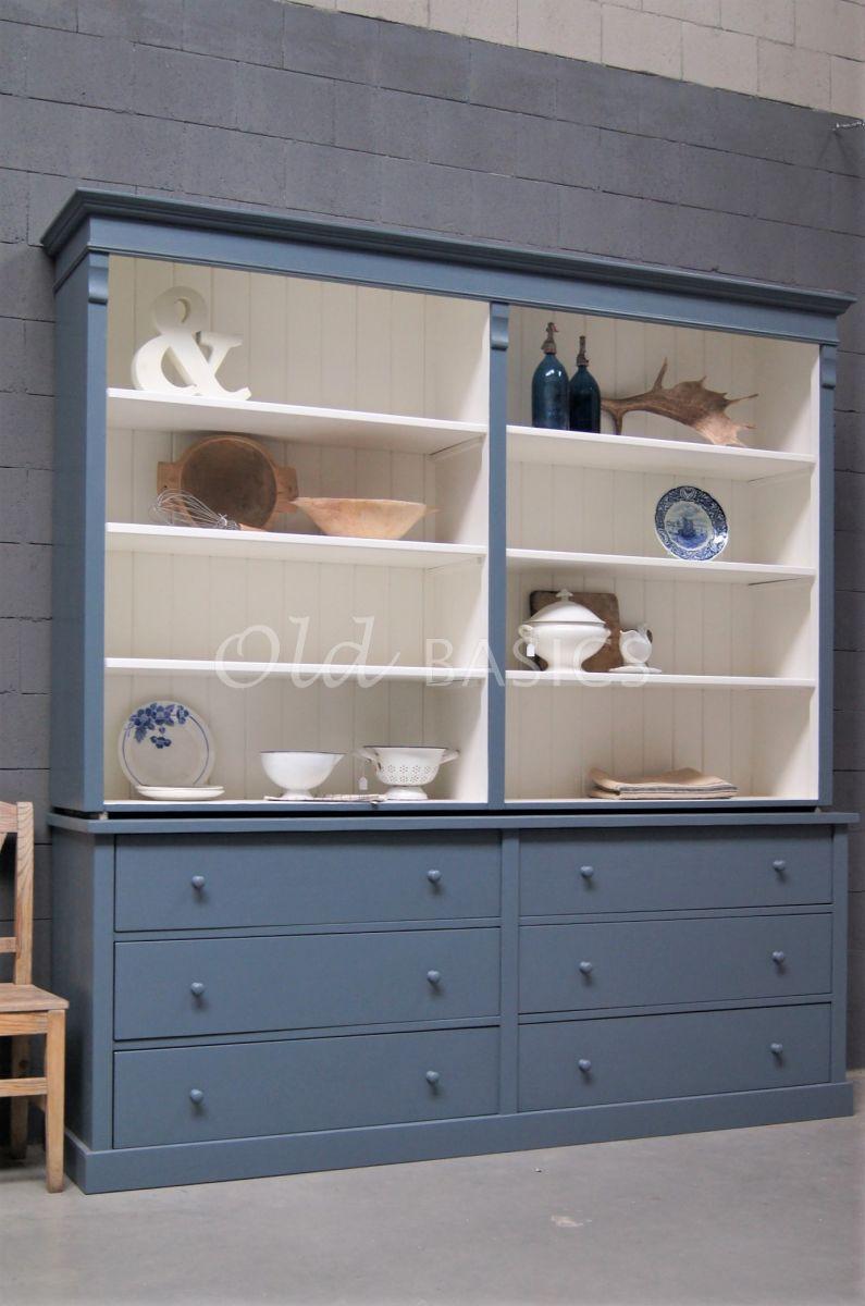 Boekenkast Rustique, 2 deuren, RAL7031, blauw, grijs, materiaal hout