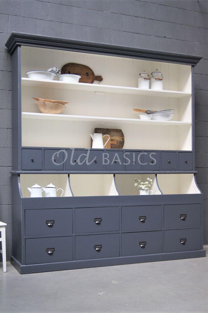 Grutterskast Grand, 4 deuren, RAL7015, blauw, grijs, materiaal hout