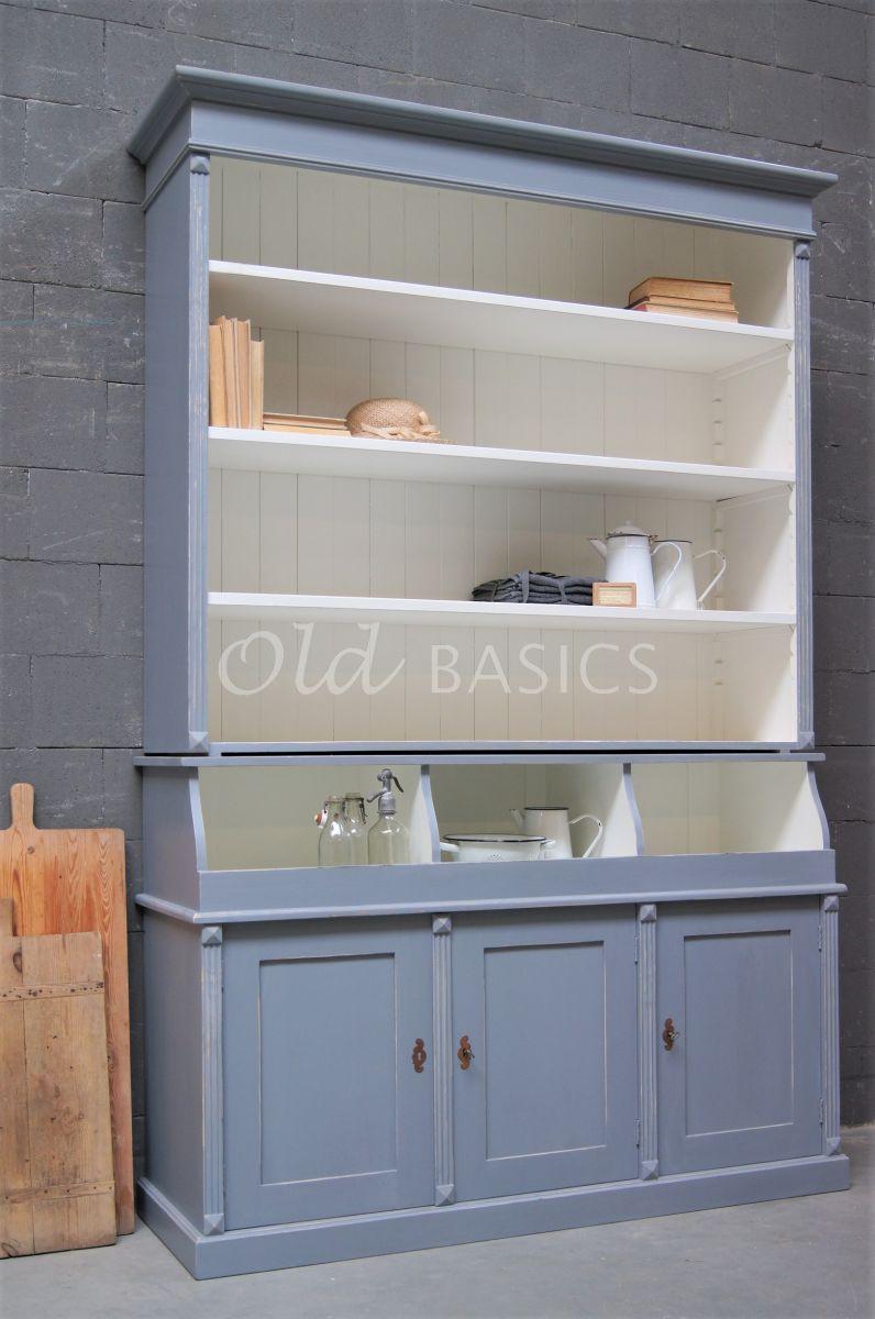 Grutterskast Petit, 3 deuren, RAL7046, blauw, grijs, materiaal hout