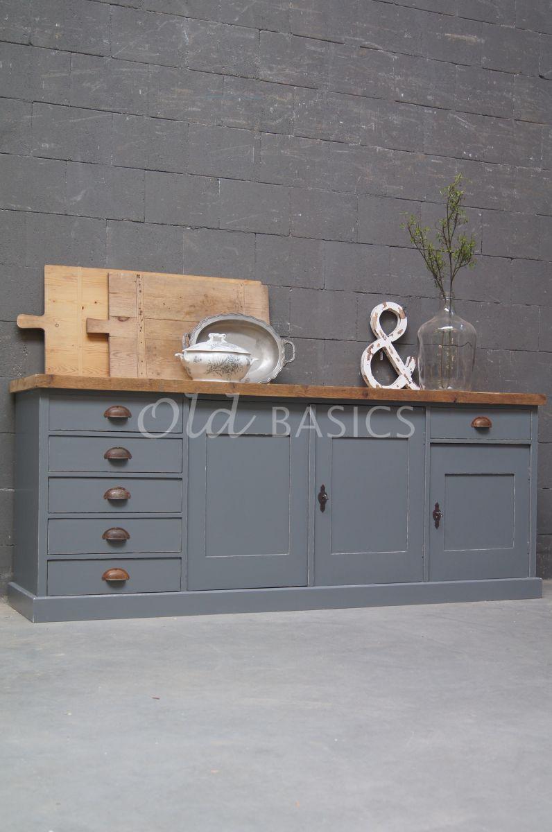 Dressoir Rustique, 4 deuren, RAL7005, grijs, materiaal hout