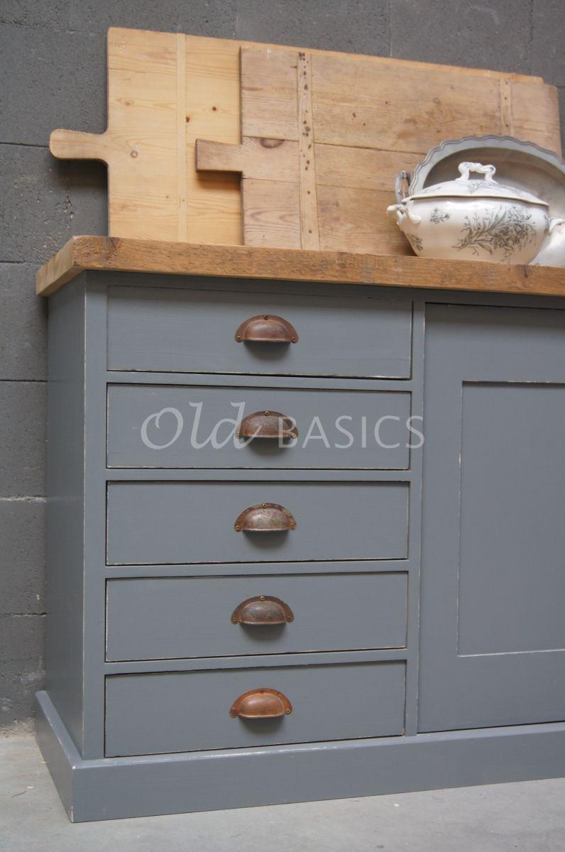 Detail van Dressoir Rustique, 4 deuren, RAL7005, grijs, materiaal hout