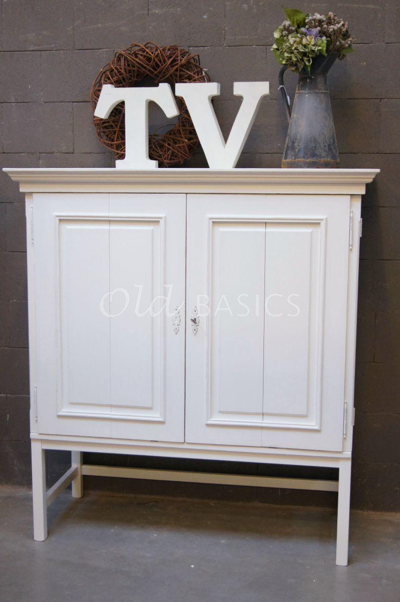 TVkast Elegance, RAL2, wit, materiaal hout