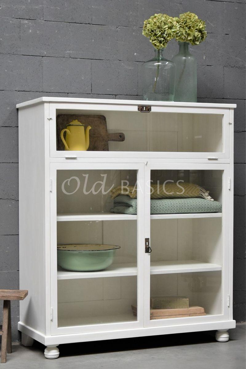 Vitrinekast Millau, 2 deuren, RAL9010, wit, materiaal hout