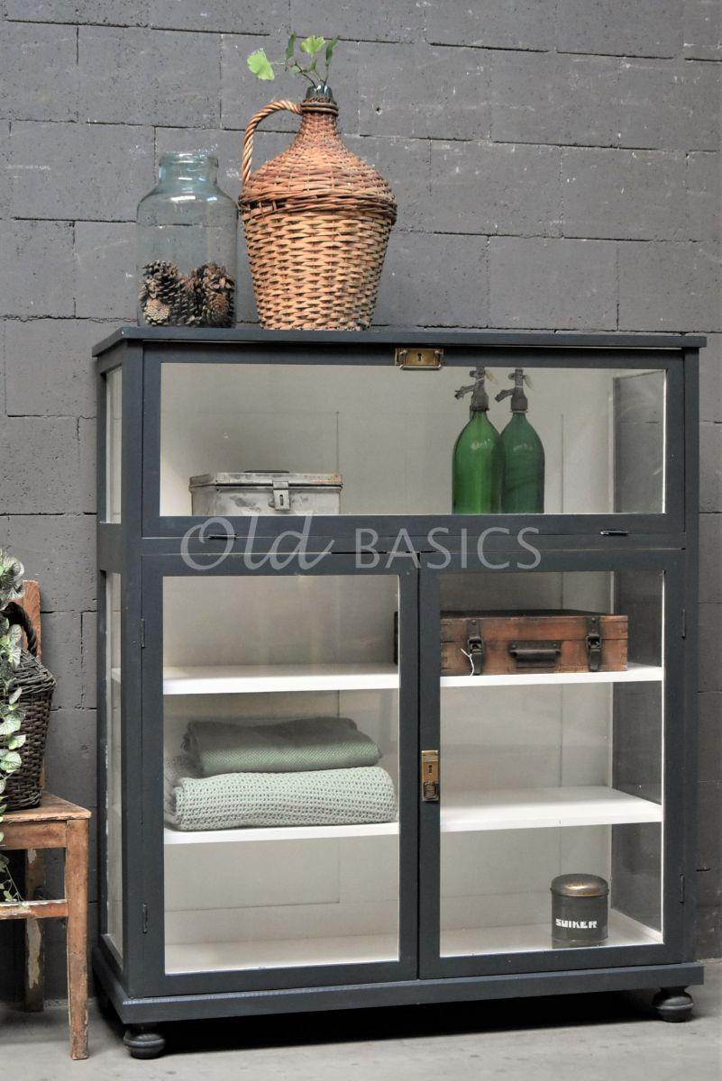 Vitrinekast Millau, 2 deuren, RAL7016, grijs, materiaal hout