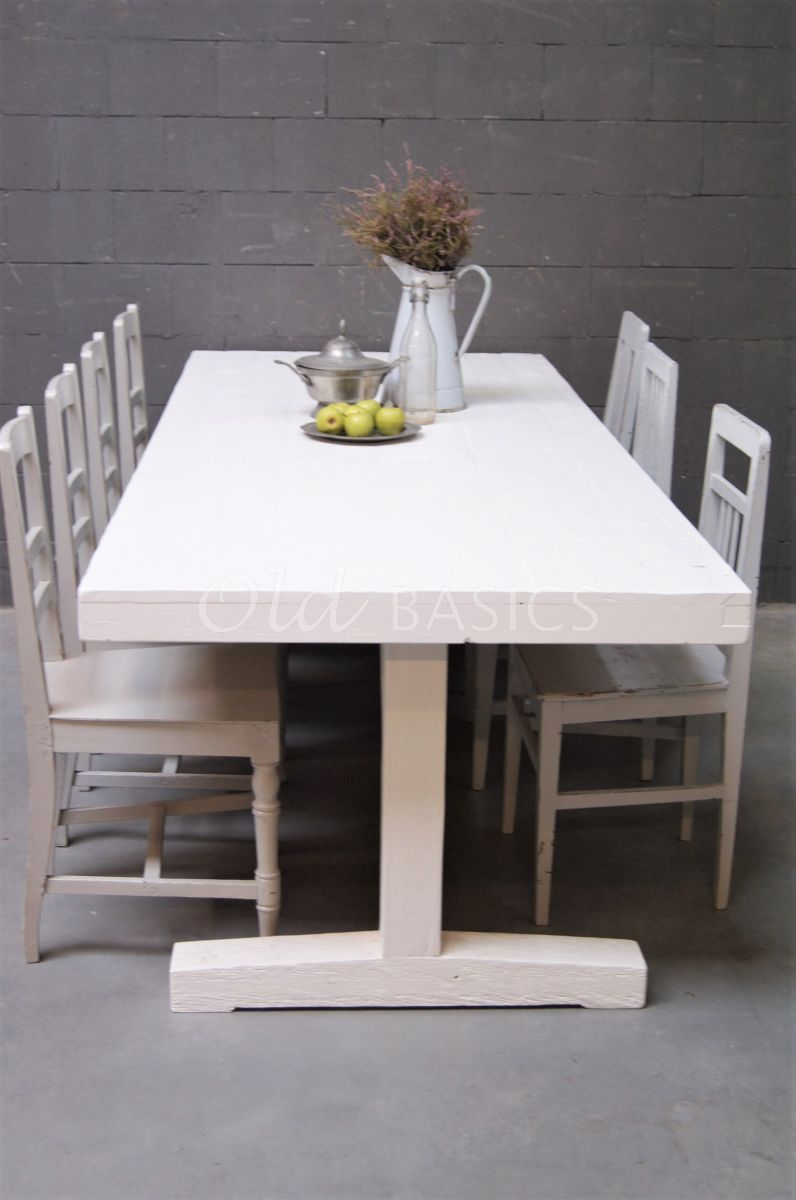 Detail van Eettafel Toulouse, wit, materiaal hout