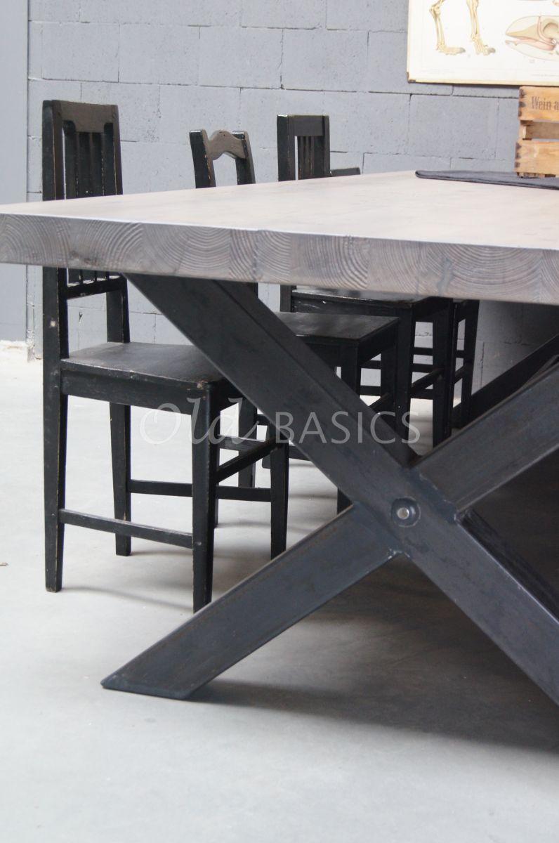 Detail van Eettafel Xavy, grijs, materiaal staal