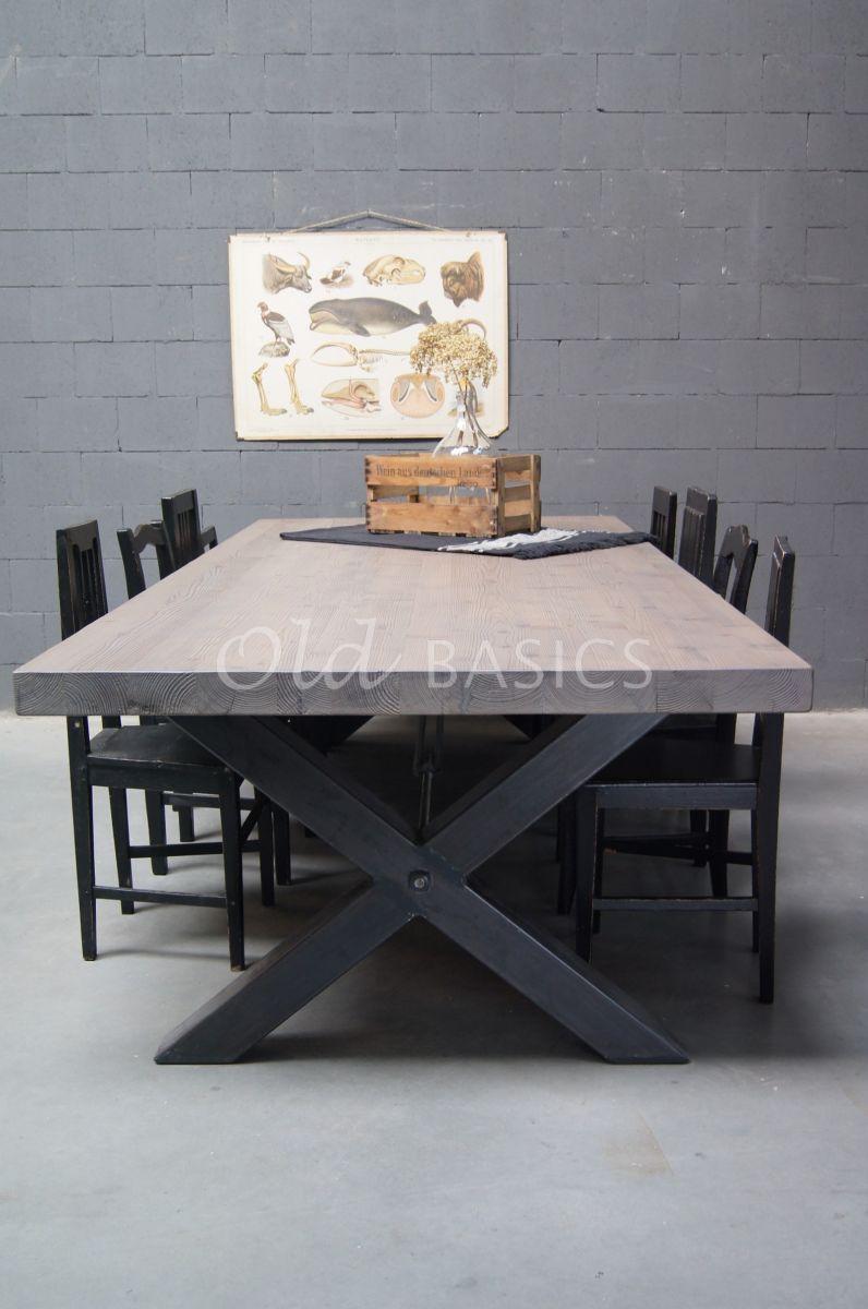 Eettafel Xavy, grijs, materiaal staal