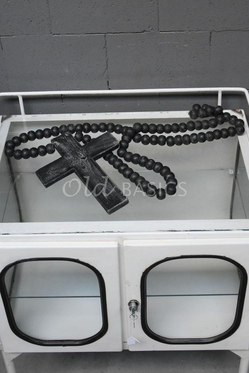 Ketting met kruis zwart, zwart, materiaal hout