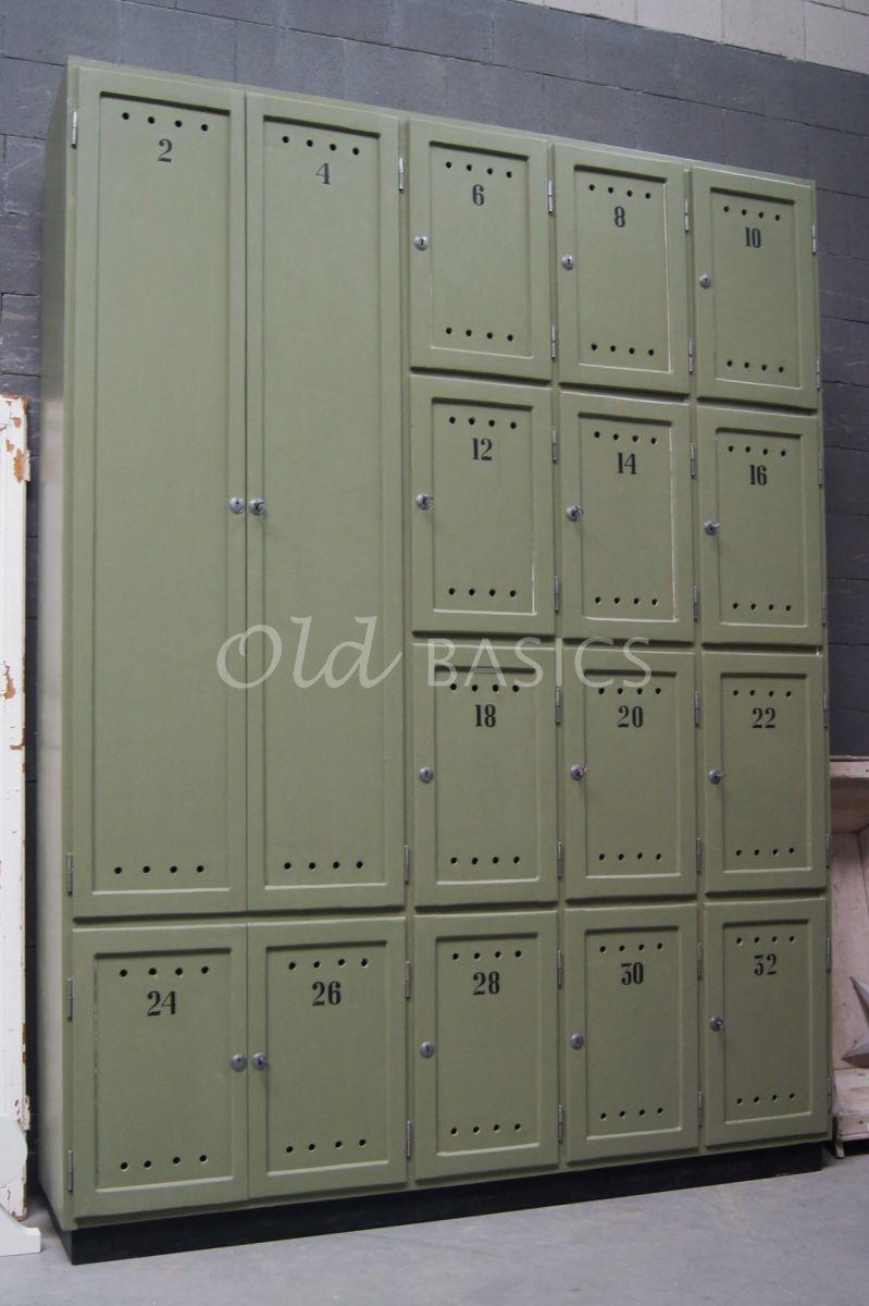 Lockerkast Numero, 5 deuren, RAL6013, groen, materiaal hout