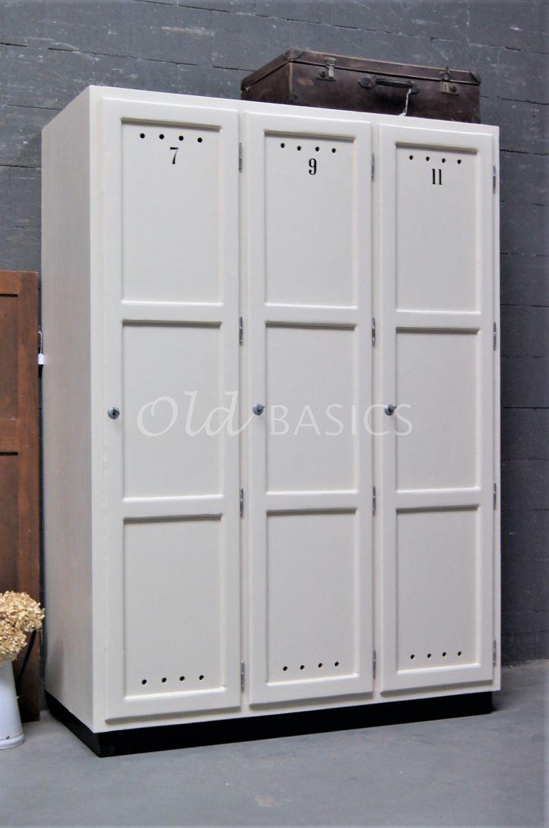 Lockerkast Numero, 3 deuren, RAL1013, wit, materiaal hout