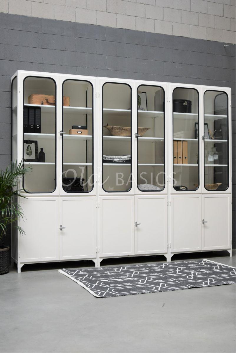 Apothekerskast Retrique, 6 deuren, RAL9010, wit, materiaal staal