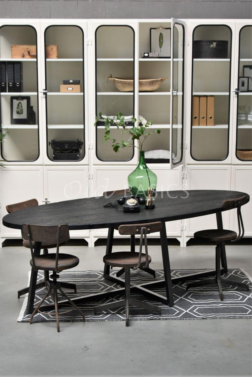 Eettafel Annecy, zwart, materiaal staal