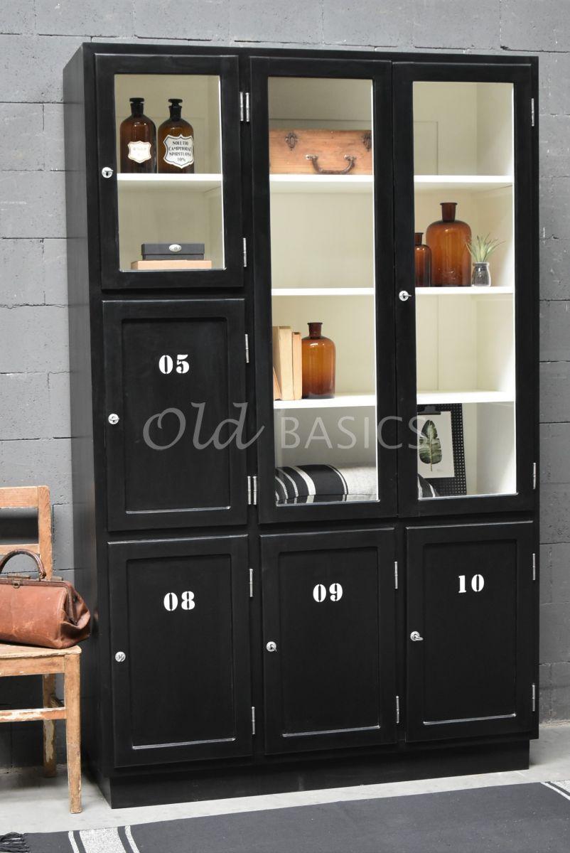 Lockerkast Vitrine, 3 deuren, RAL9005, zwart, materiaal hout