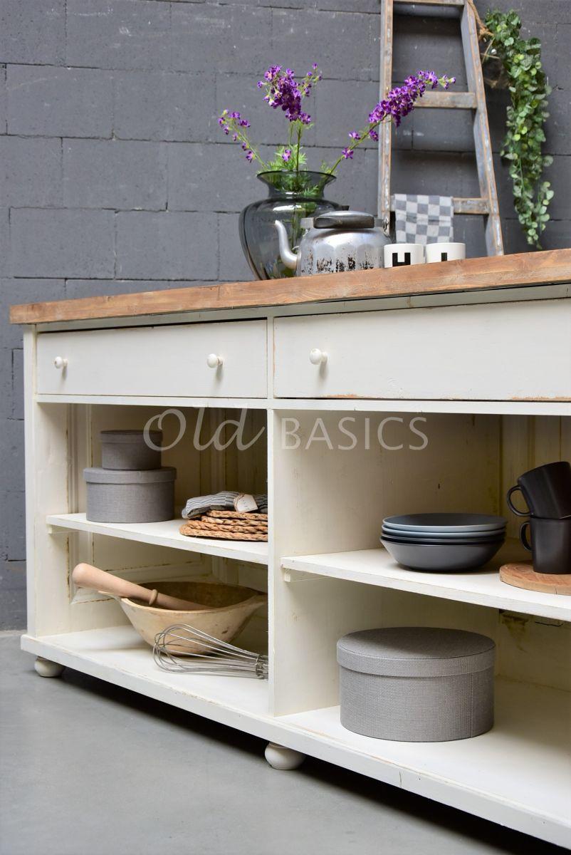 Detail van Toonbank, crème, wit, materiaal hout