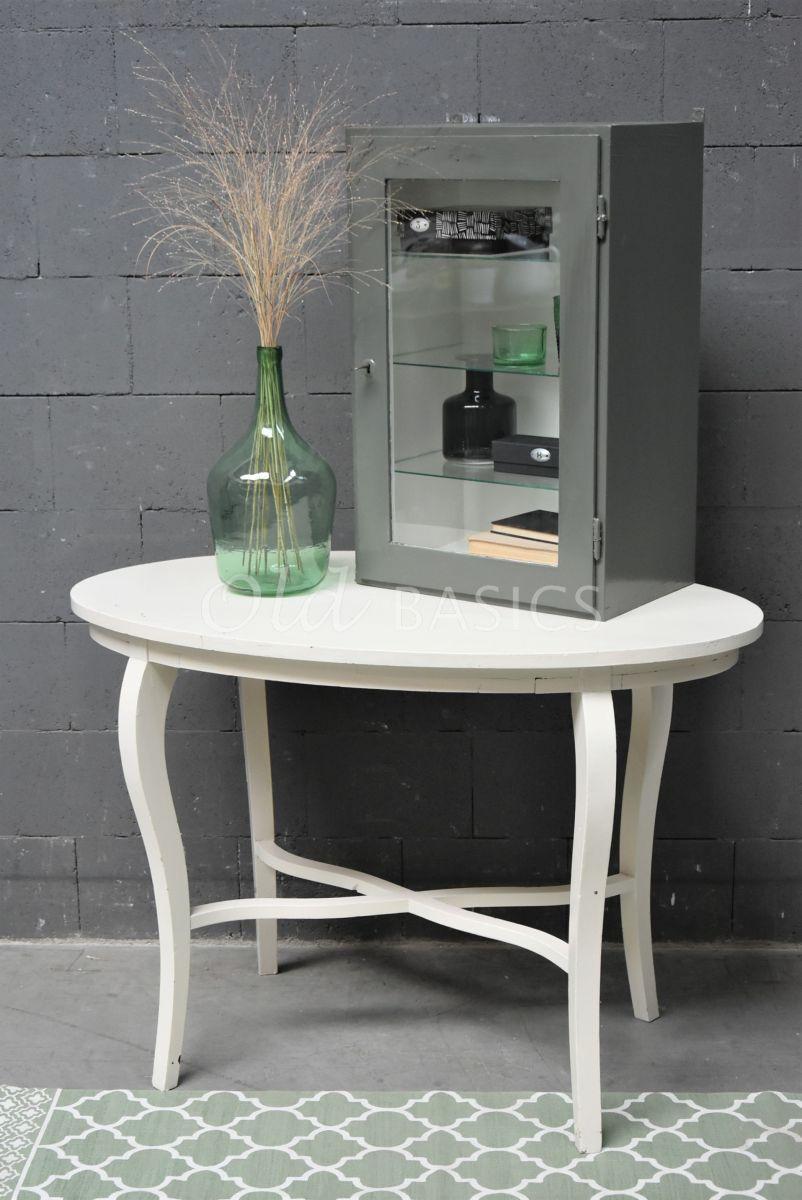 Detail van Bijzettafel, wit, crème, materiaal hout