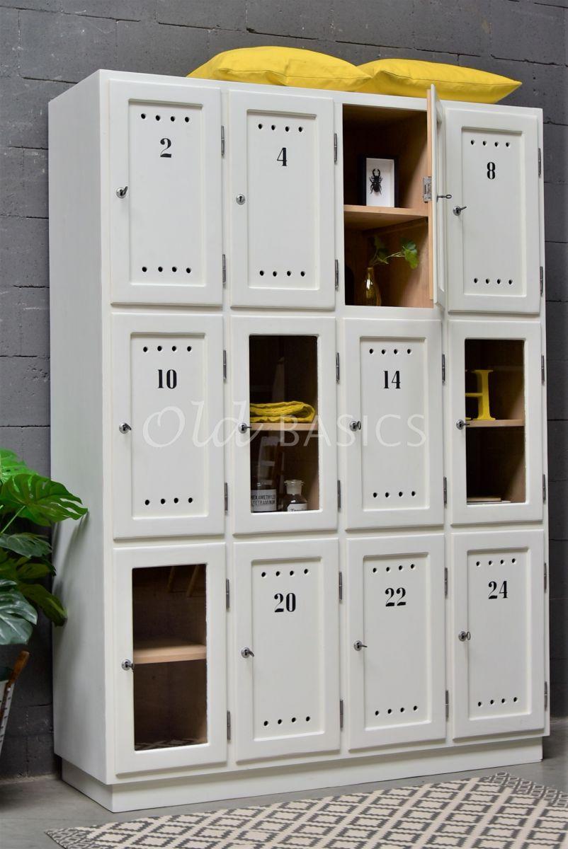Lockerkast Numero, 4 deuren, RAL9010, wit, materiaal hout