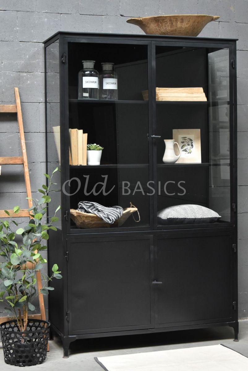 Apothekerskast Ilya Noir, zwart, materiaal staal