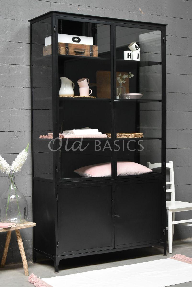 Apothekerskast Ilya Noir Grand, zwart, materiaal staal