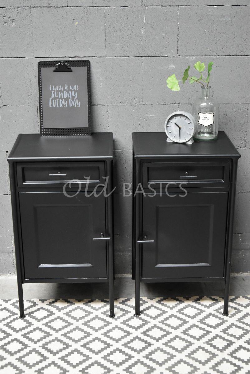 Set nachtkastjes Dormir Noir, zwart, materiaal staal
